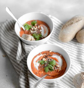 Sopa de camote y pimientos