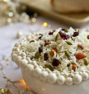Arroz navideño con frutos secos