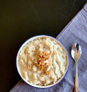 Arroz con leche y crema de coco