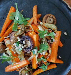 Zanahorias y champiñones horneados con jengibre