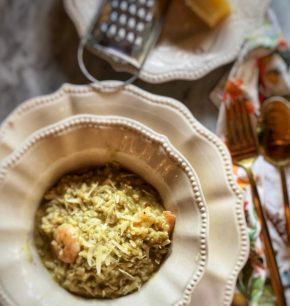 Risotto de pesto y camarones